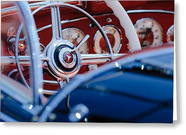 1936 Greeting Cards - 1936 Mercedes-Benz 540 Special Roadster Steering Wheel Greeting Card by Jill Reger