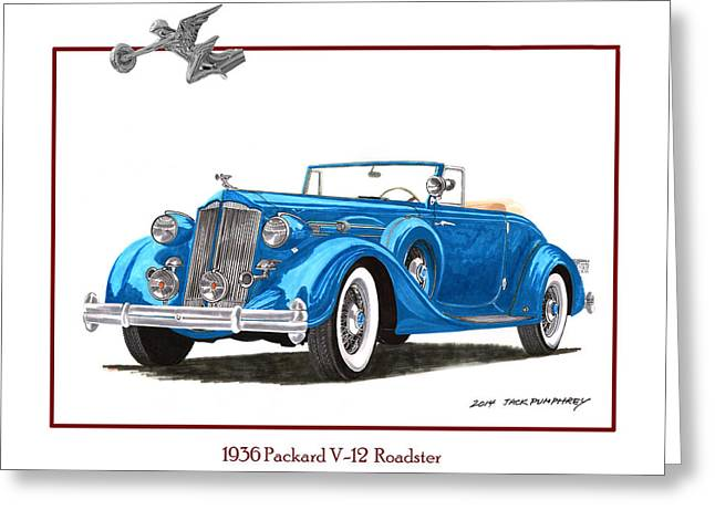Continuing Greeting Cards - 1936 Packard V 12 Roadster Greeting Card by Jack Pumphrey