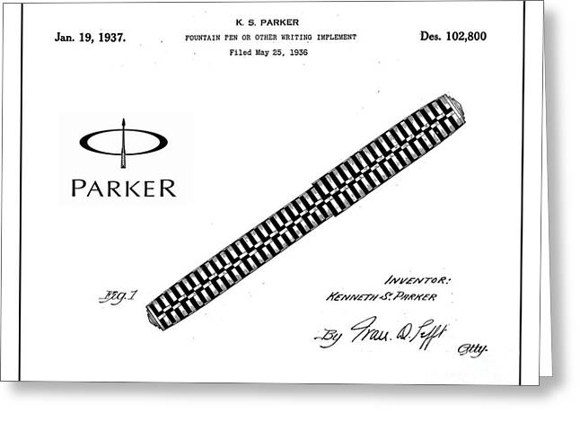19th Century America Digital Art Greeting Cards - 1936 Parker Pen Patent Art with Logo 1 Greeting Card by Nishanth Gopinathan