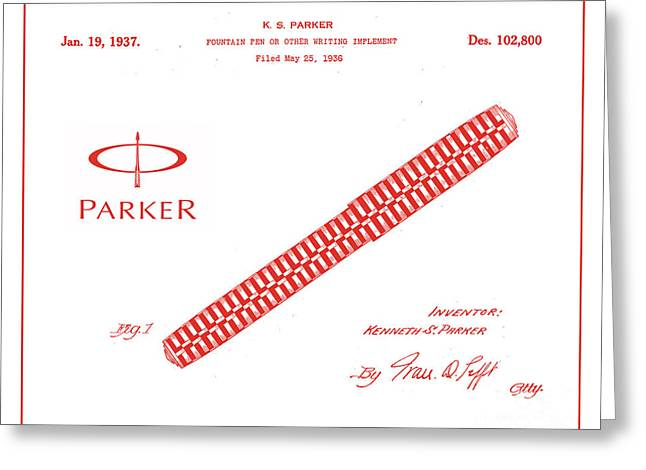 19th Century America Digital Art Greeting Cards - 1936 Parker Pen Patent Art with Logo 2 Greeting Card by Nishanth Gopinathan