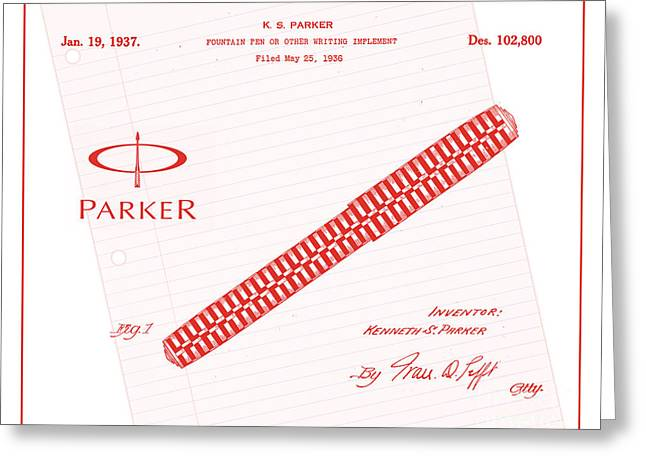 19th Century America Digital Art Greeting Cards - 1936 Parker Pen Patent Art with Logo 3 Greeting Card by Nishanth Gopinathan