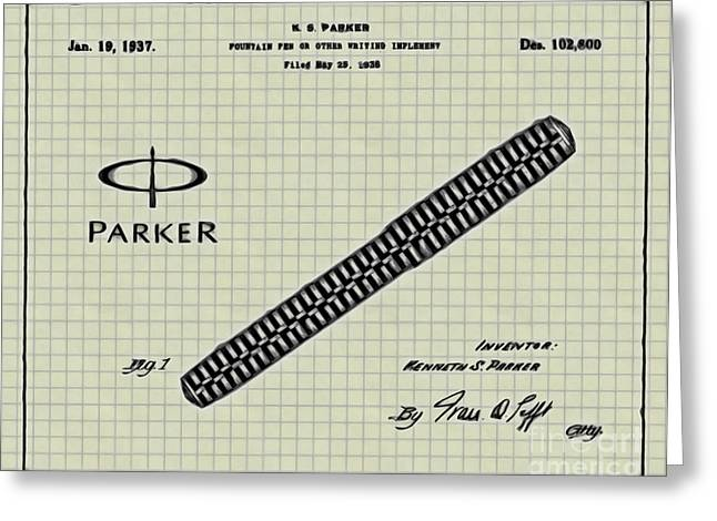19th Century America Digital Art Greeting Cards - 1936 Parker Pen Patent Art with Logo 4 Greeting Card by Nishanth Gopinathan