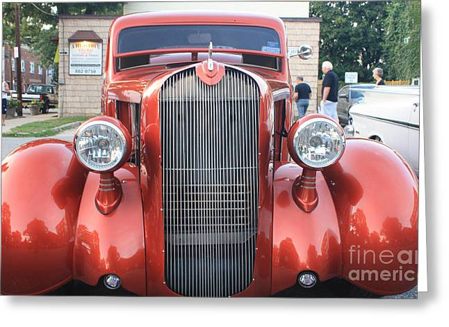 Telfer Photography Greeting Cards - 1936 Plymouth Two Door Sedan Front View Greeting Card by John Telfer