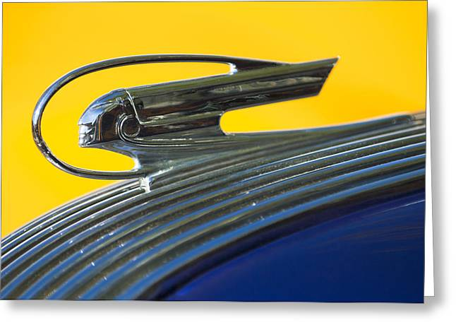 Vintage Hood Ornament Greeting Cards - 1936 Pontiac Hood Ornament 2 Greeting Card by Jill Reger