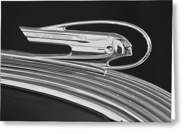Vintage Hood Ornament Greeting Cards - 1936 Pontiac Hood Ornament 5 Greeting Card by Jill Reger
