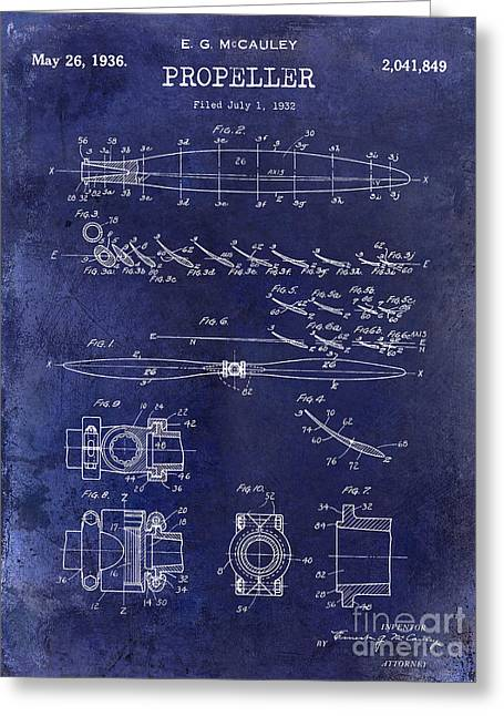 Stearman Greeting Cards - 1936 Propeller Patent Drawing Blue Greeting Card by Jon Neidert