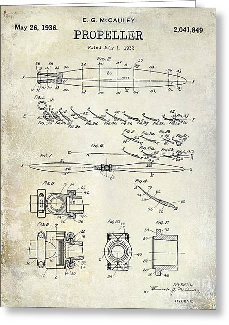1936 Propeller Patent Drawing Greeting Card by Jon Neidert