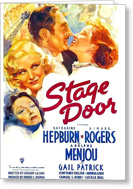 1933 Movies Greeting Cards - 1937 - Stage Door RKO Movie Poster - Color Greeting Card by John Madison