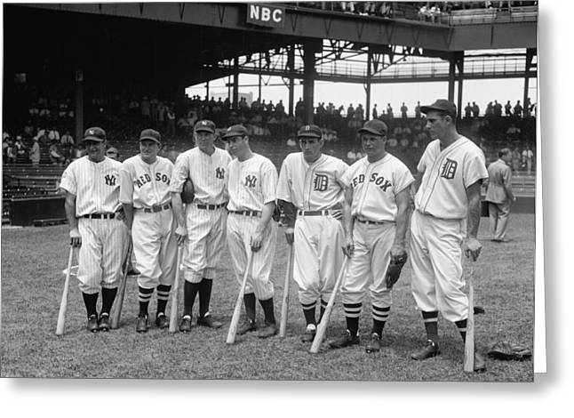 1937 American League All-star Players Greeting Card by Georgia Fowler
