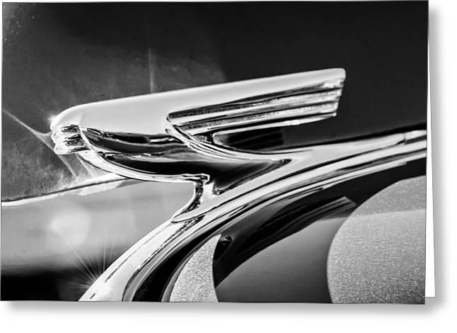 1937 Chevy Greeting Cards - 1937 Chevrolet 2 Door Sedan Hood Ornament -0834bw Greeting Card by Jill Reger