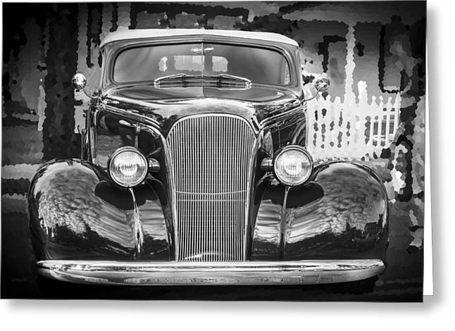 1937 Chevy Greeting Cards - 1937 Chevrolet Custom Convertible BW Greeting Card by Rich Franco