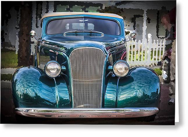 Custom Grill Greeting Cards - 1937 Chevrolet Custom Convertible Greeting Card by Rich Franco