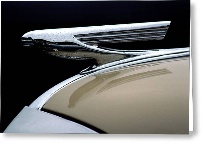 1937 Chevy Greeting Cards - 1937 Chevrolet Hood Ornament Greeting Card by Carol Leigh