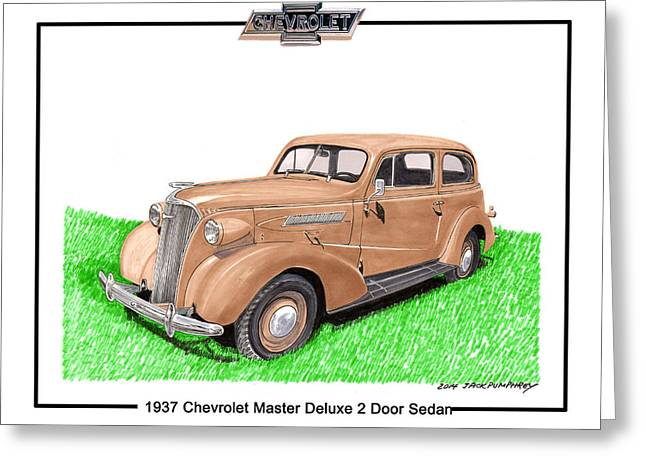 1937 Chevy Greeting Cards - 1937 Chevy Master Deluxe 2 Dr Sedan Greeting Card by Jack Pumphrey