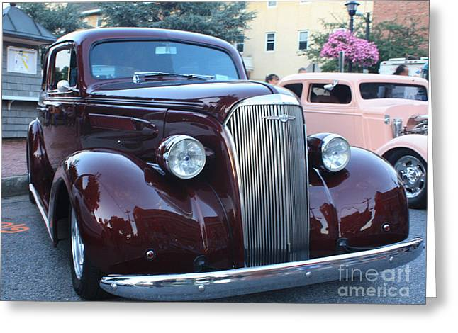 1937 Chevy Greeting Cards - 1937 Chevy Two Door Sedan Front and Side View Greeting Card by John Telfer