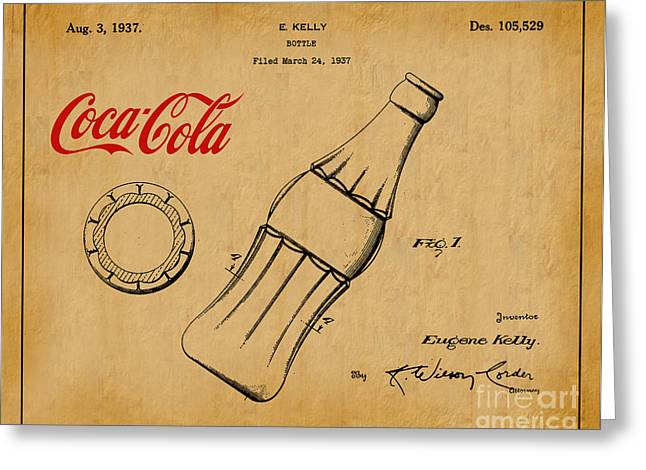 Kelly Digital Art Greeting Cards - 1937 Coca Cola Bottle Design Patent Art 1 Greeting Card by Nishanth Gopinathan