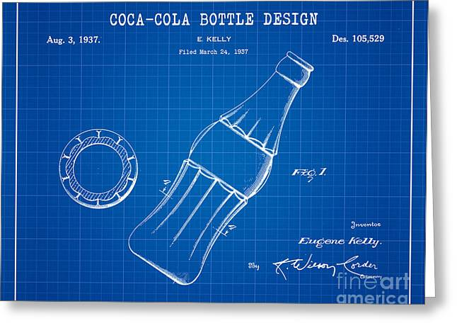 Kelly Digital Art Greeting Cards - 1937 Coca Cola Bottle Design Patent Art 2 Greeting Card by Nishanth Gopinathan