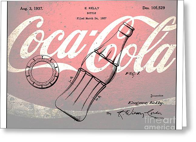 Kelly Digital Art Greeting Cards - 1937 Coca Cola Bottle Design Patent Art 3 Greeting Card by Nishanth Gopinathan