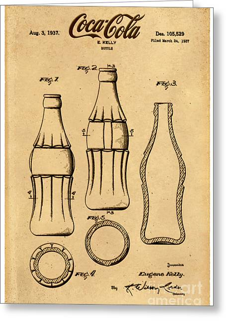 Kelly Greeting Cards - 1937 Coca Cola Bottle Design Patent Art 4 Greeting Card by Nishanth Gopinathan