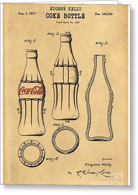American Food Greeting Cards - 1937 Coca Cola Bottle Design Patent Art 5 Greeting Card by Nishanth Gopinathan