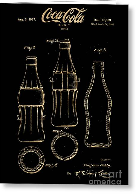 Kelly Digital Art Greeting Cards - 1937 Coca Cola Bottle Design Patent Art 7 Greeting Card by Nishanth Gopinathan