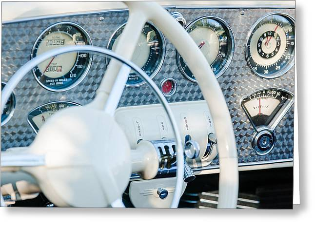 Dashboard Greeting Cards - 1937 Cord 812 Phaeton Dashboard Instruments Greeting Card by Jill Reger