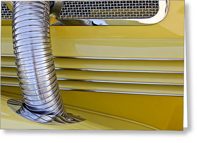 Cord Greeting Cards - 1937 Cord 812 Phaeton Hood Fender Greeting Card by Jill Reger