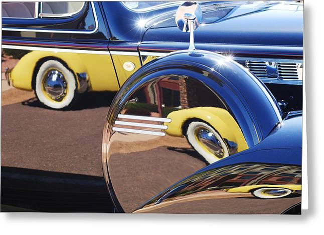 1937 Cord 812 Phaeton Reflected Into Packard Greeting Card by Jill Reger