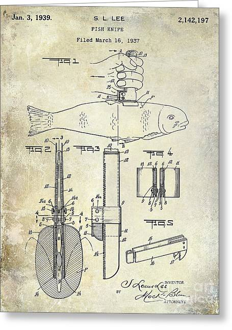 Fishing House Greeting Cards - 1937 fishing knife Patent Greeting Card by Jon Neidert