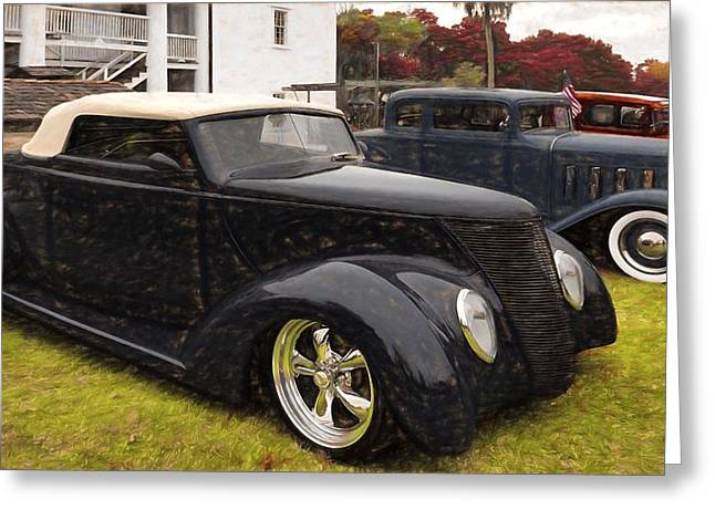 1932-1937 Greeting Cards - 1937 Ford and 1932 Pontiac Greeting Card by L Wright