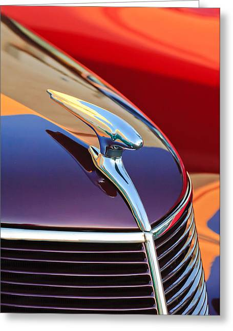 Vintage Hood Ornaments Greeting Cards - 1937 Ford Hood Ornament 2 Greeting Card by Jill Reger
