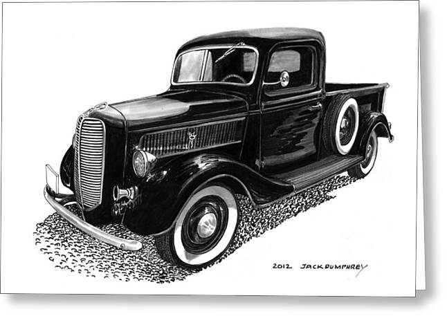 Custom Ford Greeting Cards - 1937 Ford Pick Up Truck Greeting Card by Jack Pumphrey