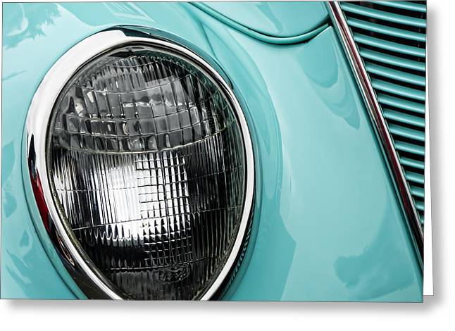 Headlight Greeting Cards - 1937 Ford Sedan Slantback Square Greeting Card by Carol Leigh