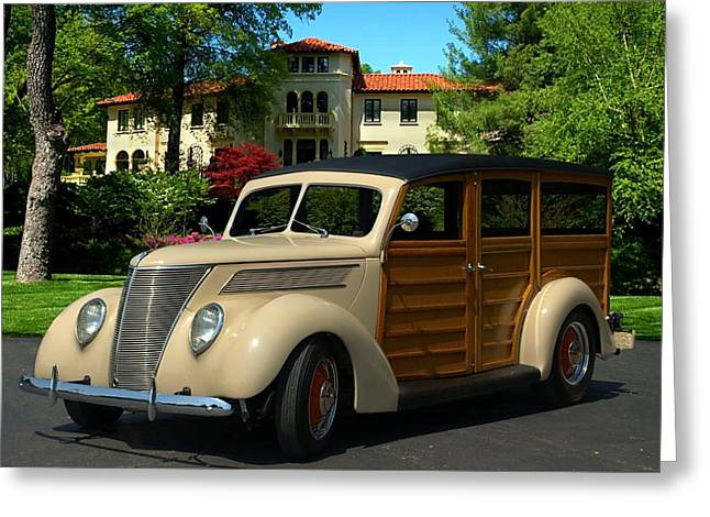 Station Wagon Greeting Cards - 1937 Ford Woody Station Wagon Greeting Card by Tim McCullough