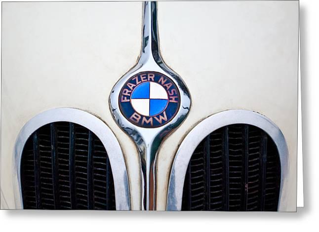Nash Greeting Cards - 1937 Frazer Nash-BMW 328 Hood Emblem Greeting Card by Jill Reger