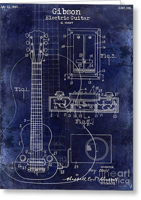 Les Paul Greeting Cards - 1937 Gibson Electric Guitar Patent Drawing Blue Greeting Card by Jon Neidert