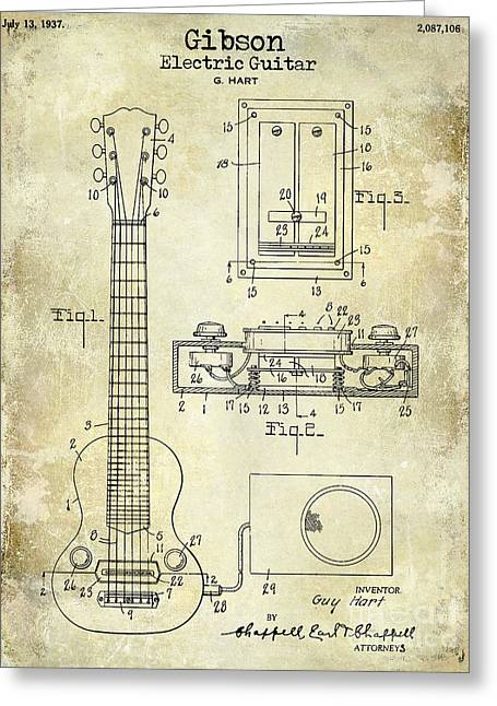 Les Paul Greeting Cards - 1937 Gibson Electric Guitar Patent Drawing Greeting Card by Jon Neidert