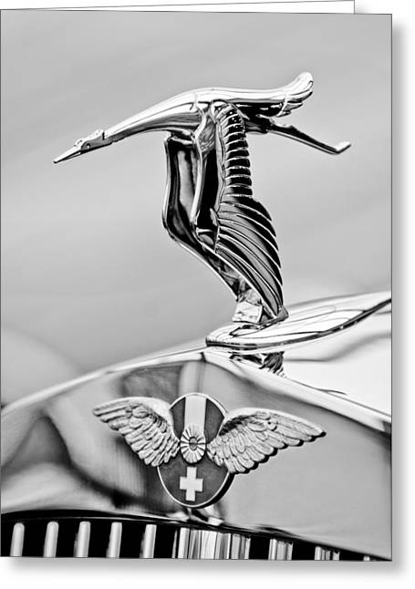 Suiza Greeting Cards - 1937 Hispano-Suiza Hood Ornament 2 Greeting Card by Jill Reger