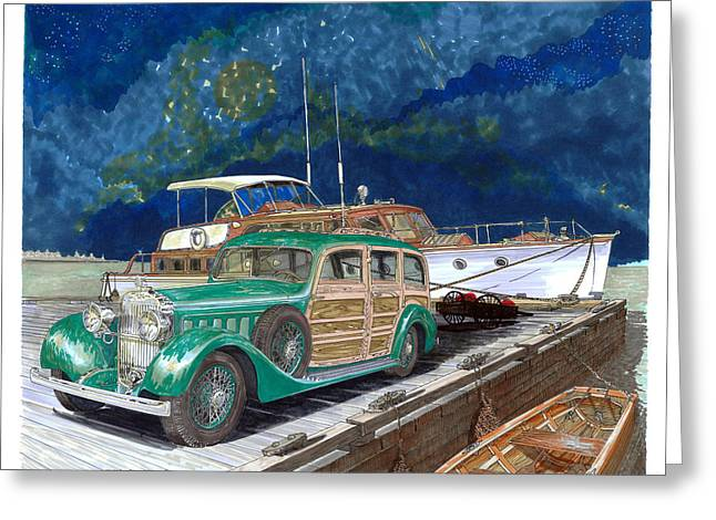 1937 Hispano Suiza Varnished Thunder Greeting Card by Jack Pumphrey
