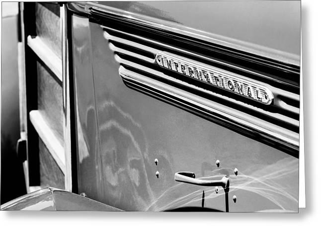 Wagon Greeting Cards - 1937 International D-2 Station Wagon Side Emblem Greeting Card by Jill Reger