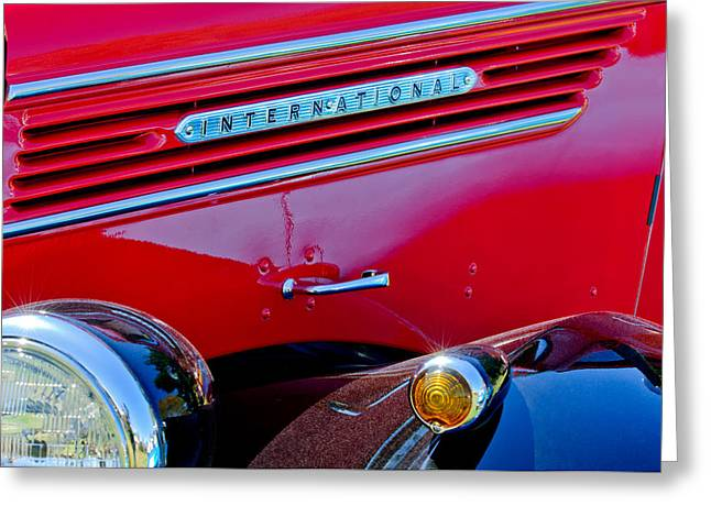 Pickup Greeting Cards - 1937 International D2 Pickup Truck Side Emblem Greeting Card by Jill Reger