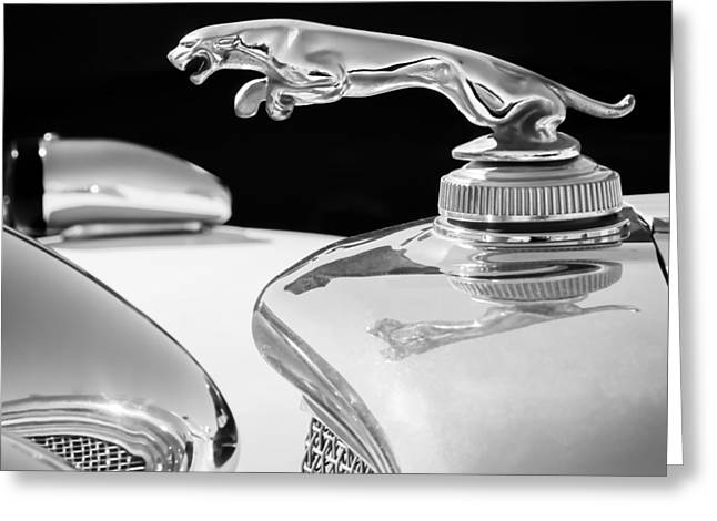 Famous Photographers Greeting Cards - 1937 Jaguar Prototype Hood Ornament -386bw55 Greeting Card by Jill Reger