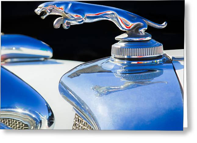 Jaguars Greeting Cards - 1937 Jaguar Prototype Hood Ornament -386c55 Greeting Card by Jill Reger