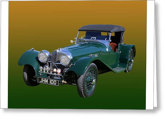 2 Seat Greeting Cards - 1937 Jaguar S S Onehundred  Greeting Card by Jack Pumphrey