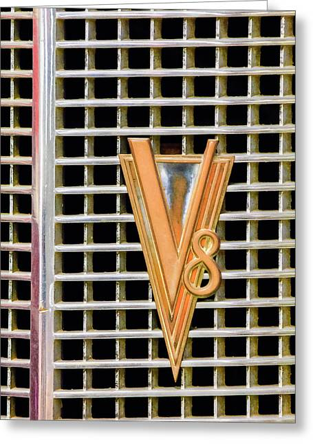 1937 Cadillac V8 Greeting Cards - 1937 LaSalle V8 Emblem Greeting Card by Jill Reger