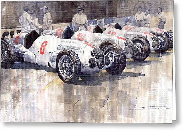 Monaco Greeting Cards - 1937 Monaco GP Team Mercedes Benz W125 Greeting Card by Yuriy  Shevchuk