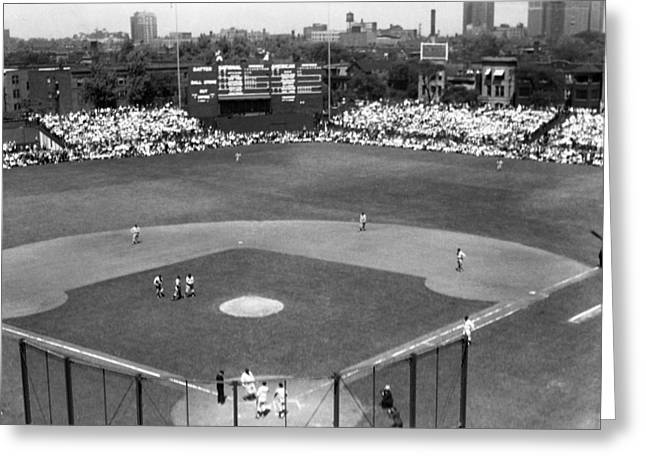 Baseball Stadiums Greeting Cards - 1937 Opening Day at Wrigley Field Greeting Card by Retro Images Archive