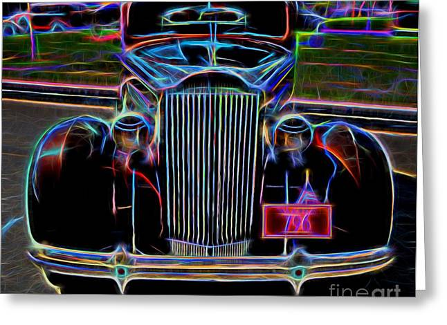 Valuable Greeting Cards - 1937 Packard 120 Business Coupe - Vintage Car Greeting Card by Gary Whitton