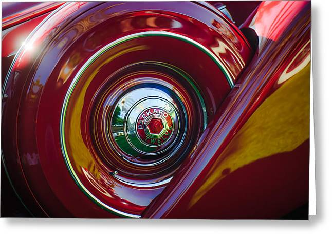 Dietrich Greeting Cards - 1937 Packard 1508 Dietrich Convertible Sedan Spare Tire Greeting Card by Jill Reger