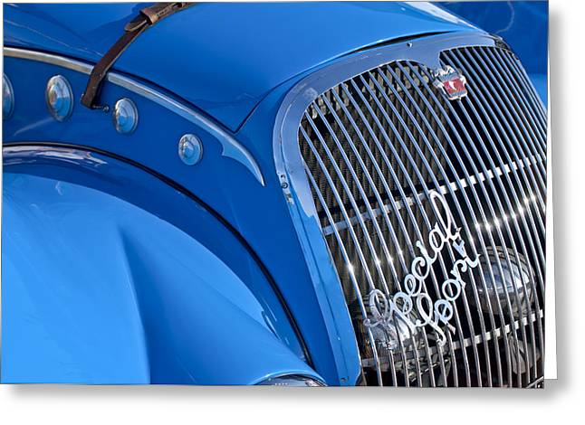 Roadster Grill Greeting Cards - 1937 Peugeot 402 Darlmat Legere Special Sport Roadster Recreation Grille Emblem Greeting Card by Jill Reger